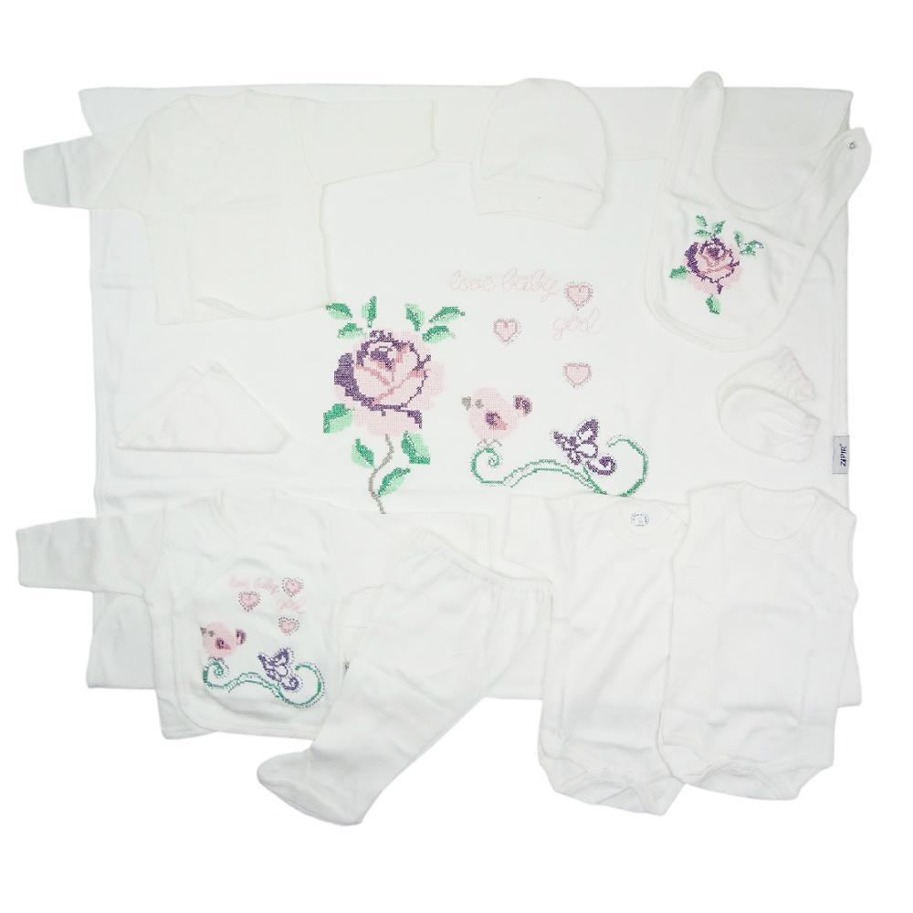 Комплект одежды для новорожденных, малышей, маленьких девочек, вышивка крестиком, ткань, одеяло, футболка, штаны, защелки, нижнее белье