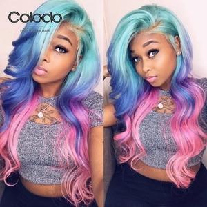 COLODO vert bleu rose perruque de cheveux humains brésilien Remy bleu ondulé dentelle avant perruque pré plumé Transparent dentelle perruques pour les femmes noires