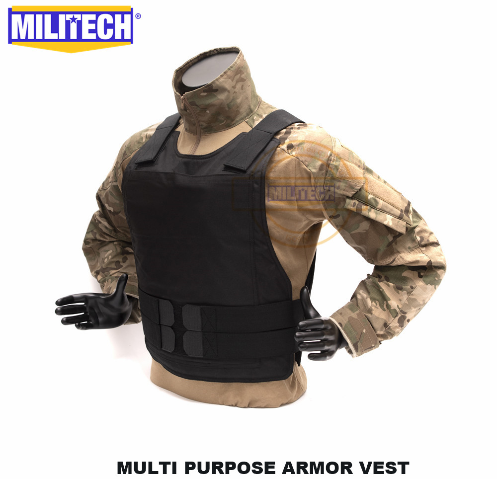 Militech Black NIJ IIIA Multi-Purpose Twaron Aramid Bulletproof Vest Low Profile Ballistic Vest With Hard Panel Insert Pockets