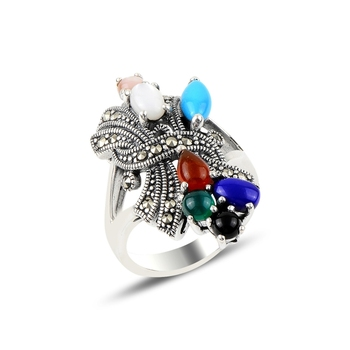 Silver 925 Sterling Mixed Natural Stones & Marcasite Ring