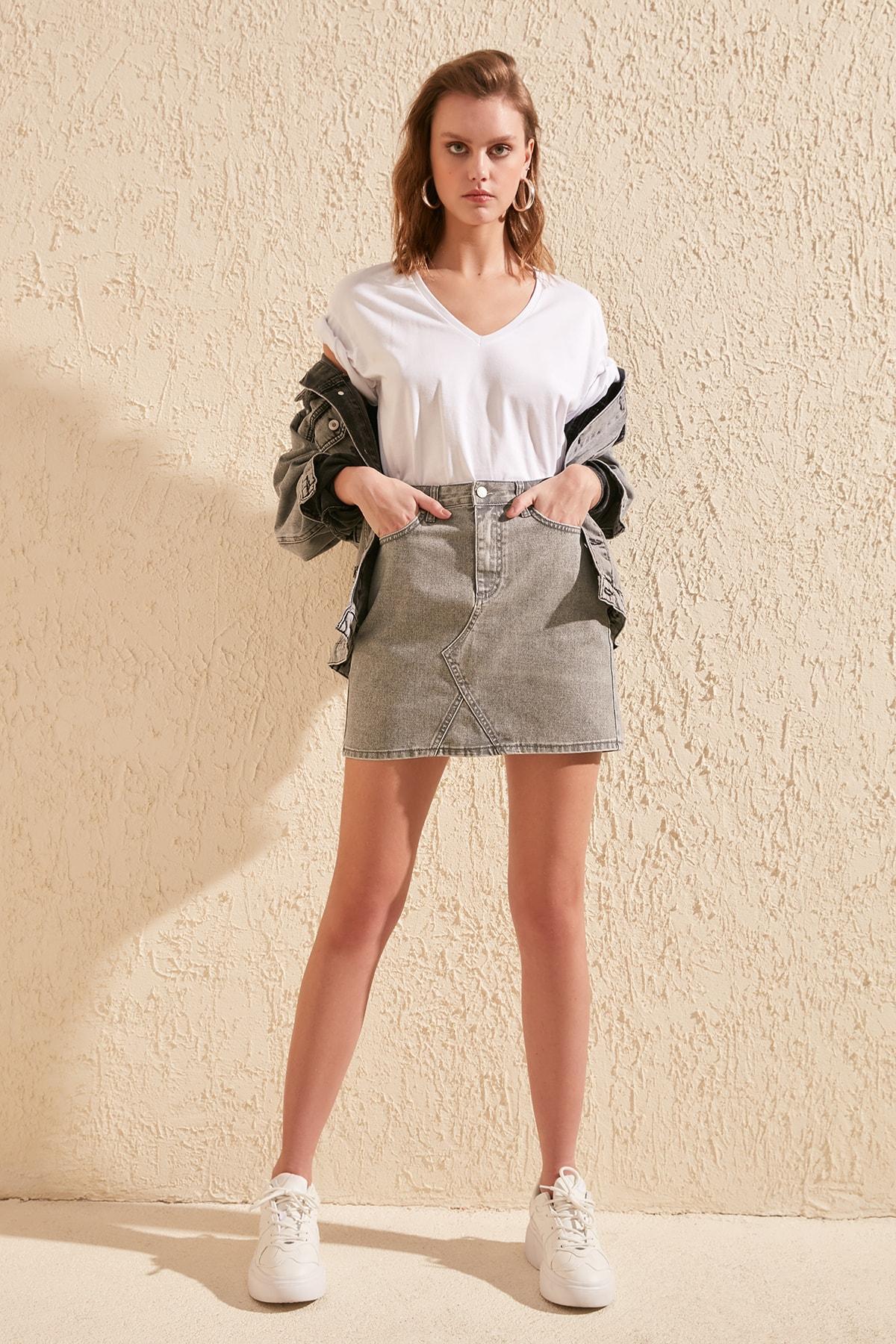 Trendyol Coated Denim Skirt TWOSS20ET0289