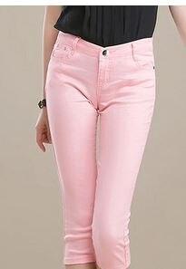 OIL6664 Women's Capris Summer Pants For Women m002 Candy PanSummer Autumn Solid Elastic Waist Cotton Linen Pants Black Pants