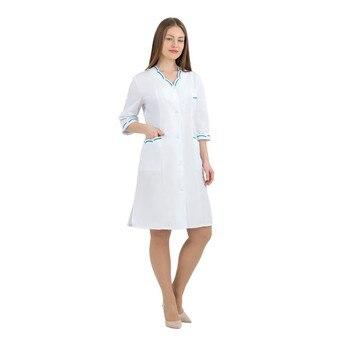 Female medical robe ivuniforma Laguna White with бирюзовыми inserts female medical robe ivuniforma olesya white with лиловыми inserts