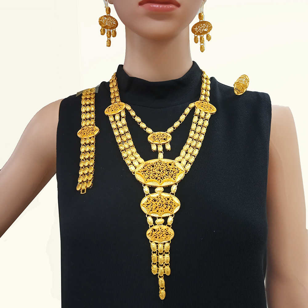 Duże złote zestawy biżuterii indyjski złoty naszyjnik biżuteria dla kobiet afrykański prezent ślubny luxry wysokiej jakości akcesoria BJW21
