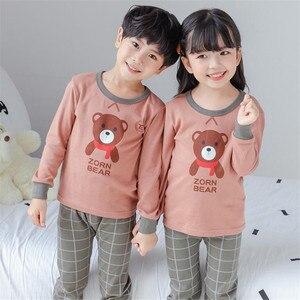 Bawełniane piżamy dziecięce dla dziewczynek Cartoon piżama zwierzęca zestaw z długim rękawem ciepła piżama Pyama chłopcy dzieci bielizna nocna PJS Baby Cloth