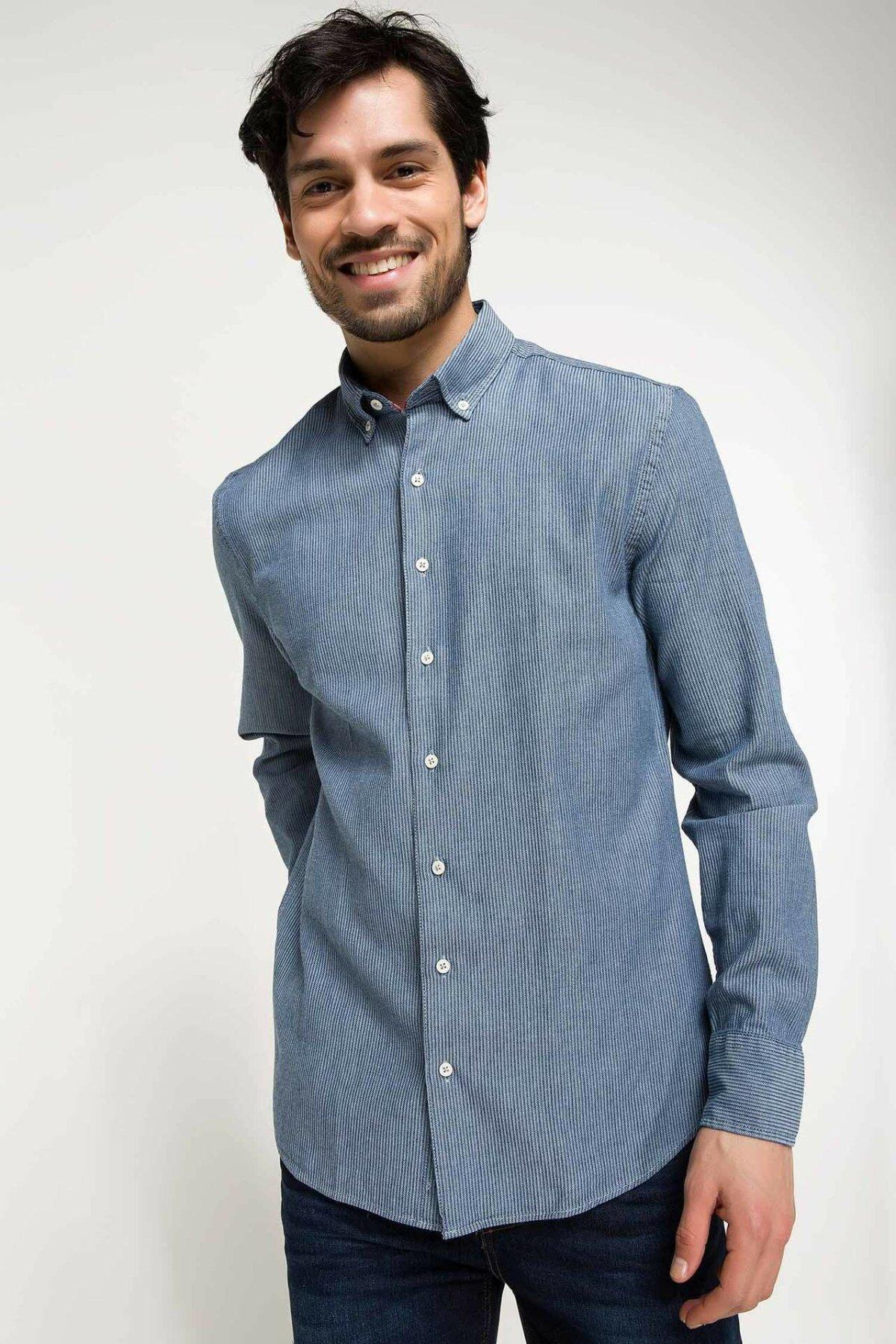 DeFacto Men Simple Pure Color Shirts Long Sleeve Shirts Mens Casual Lapel Collar Casual Shirt Tops New-I3417AZ18SP