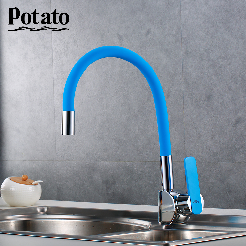 Potato Faucet Silica Gel Nose Any Direction Kitchen sink Cold and Hot Water Mixer modern style flexible p58238-12