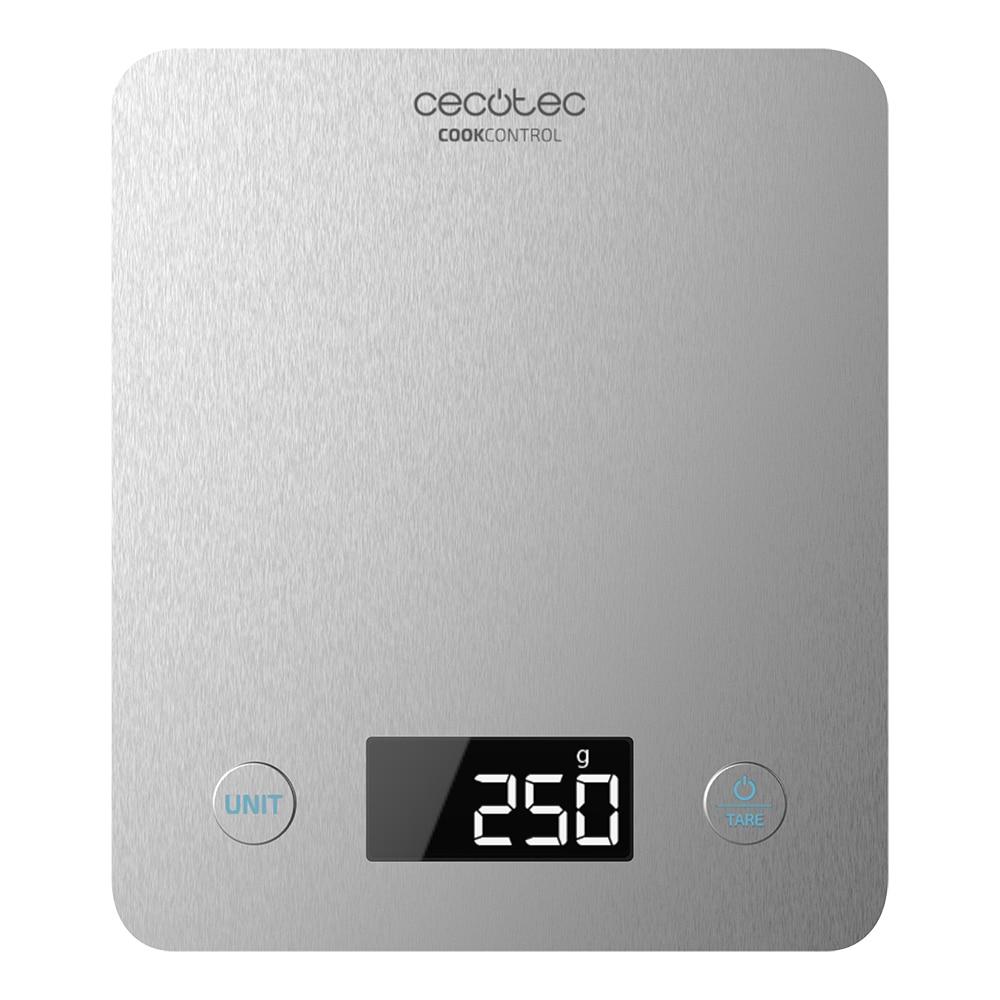 Cecotec Báscula De Cocina Nutricional Cook Control 10000 Connected Con App Y Acabado En Acero INOX, Acero Inoxidable Antihuellas