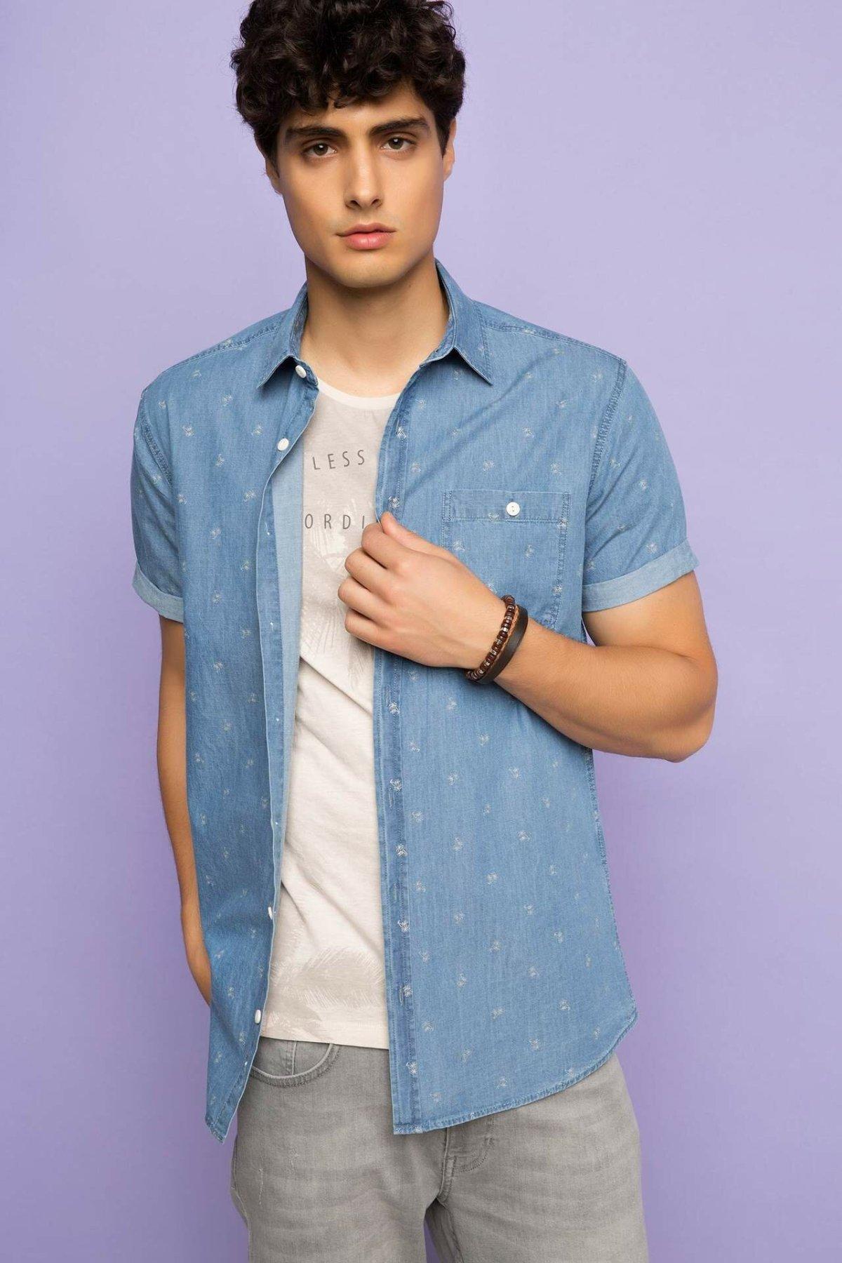 DeFacto Man Light Denim Blue Shirts Man Casual Short Sleeve Shirt Male Soft Top Shirts Men's Tops Shirt-H8814AZ17HS