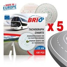 Brio Combi тахограф бумажная диаграмма диск 20-125 км/ч 100 штук стандартный и автоматический Homologation CEE E3 150 стандарт ЕС комплект
