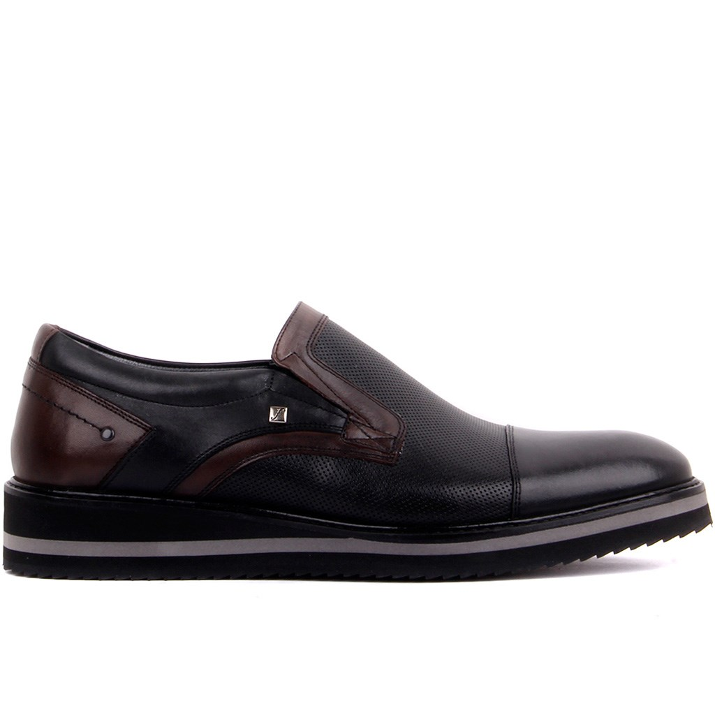Fosco-Black Leather Men 'S Casual Shoes