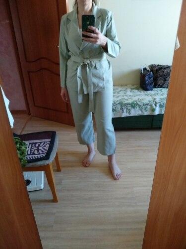Autumn Winter  Women Lace Up Pant Suit Notched Blazer Jacket & Pant Office Wear Suits Female Sets reviews №1 115324