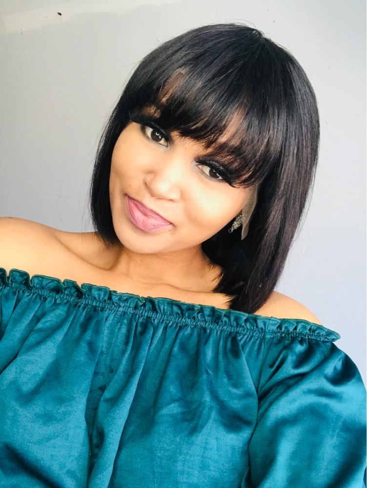 13*4 Short Bob Remy Wig Brazilian Lace Front Human Hair Wigs with Bangs 150% Density photo review