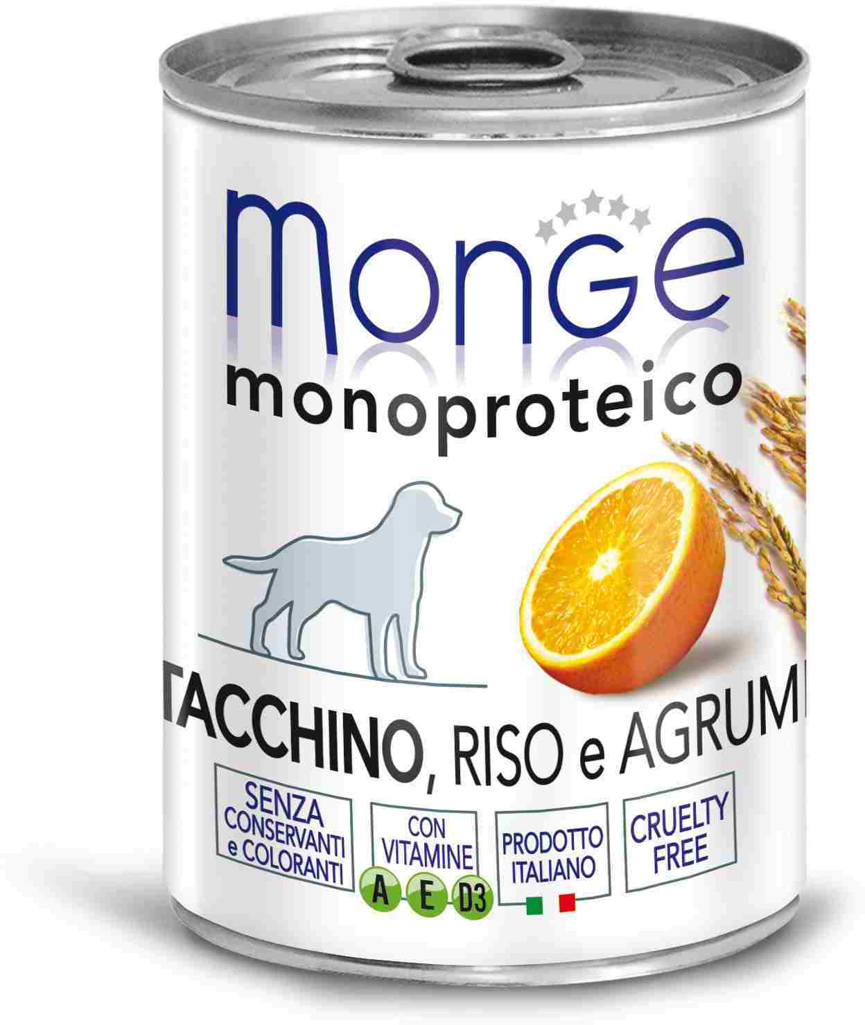 Monge Dog Monoproteico Fruits Canned Dog (паштет), Turkey, Rice And Citrus, 24*400 C.
