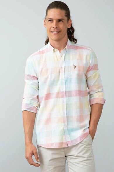 U.S. POLO ASSN. Pink Square Regular Shirt