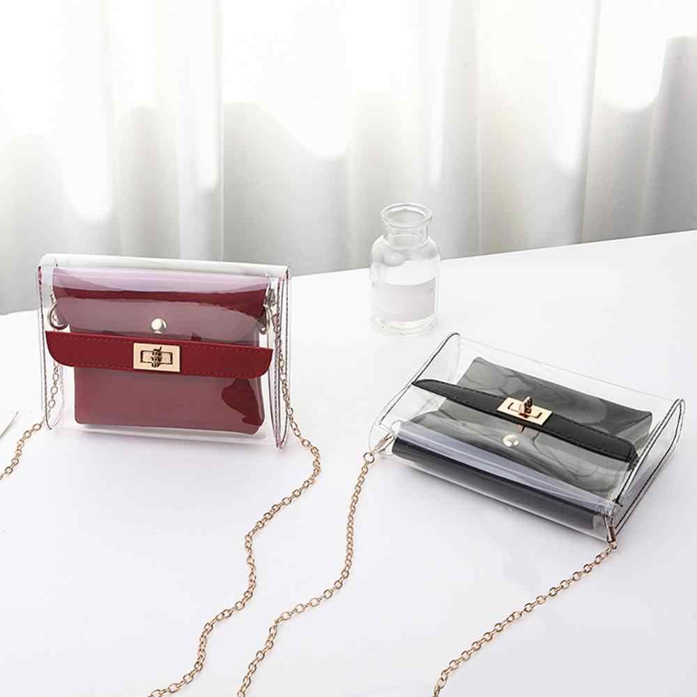 Kadın PVC şeffaf torba satchel çanta moda şeffaf omuz Crossbody çanta bayanlar Messenger rahat alışveriş küçük çanta