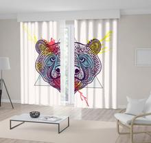 Bear Face in Triangle with Frame Watercolor Ink Drop Wild ANimal Zentangle Stylized Art Purple Yellow Red Curtain()
