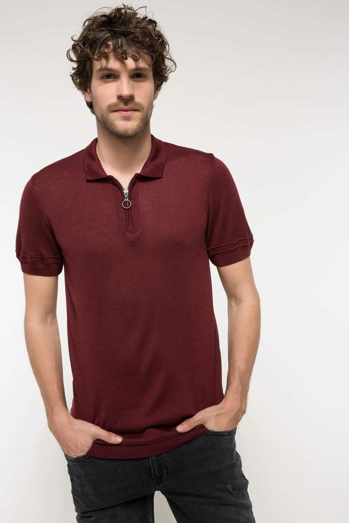 DeFacto Man Fashion Polo Shirt Casual Fashion Male Zipper Polo Shirt Short Sleeve High Quality Cotton Polo Shirt-I5899AZ18SM