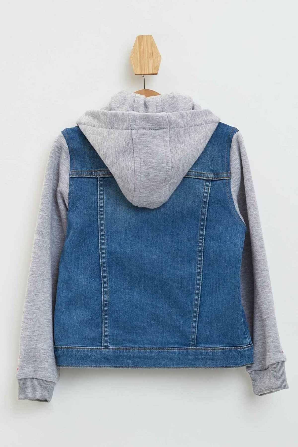 Defacto moda meninas retalhos jean jaqueta com capuz bolso criança casual denim carta padrão mangas casaco outono menina-l8819a619au