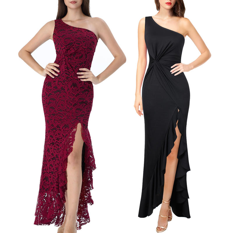 Womens Ruched Ruffles High Slit Formal Evening Party Bodycon Mermaid Maxi Dress