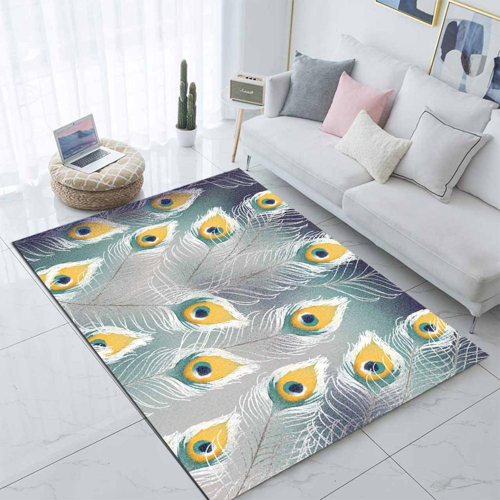 Else Green Yellow Peacock Feather Nordec 3d Print Non Slip Microfiber Living Room Decorative Modern Washable Area Rug Mat