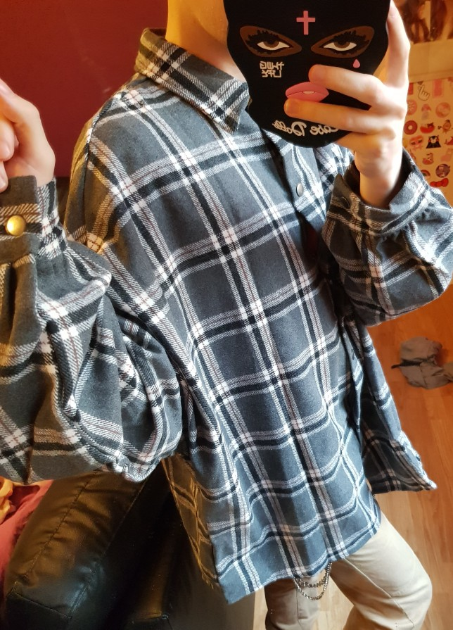 Women Autumn Plaid Thin Woolen Cardigan Puff Sleeve Shirt Coat With Buttons Female Plus Size Blouse Casual Tops Haut Femme photo review