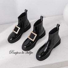 BHS 9011254 Chic Genuine Cow Patent Leather Elegant 3.5Cm Heels Metal Rhinestone Elastic Band Women Fashion Chelsea Ladies Boots