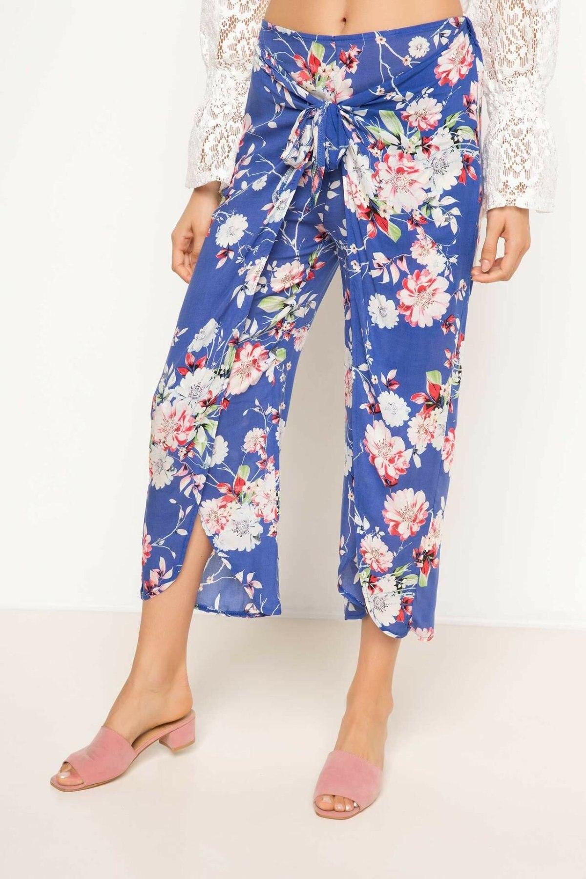 DeFacto Womens Mid Elastic Waist Loose Pants Print Flowers Casual Ladies Breathable Crop Trousers Female Comfort - H9624AZ17HS