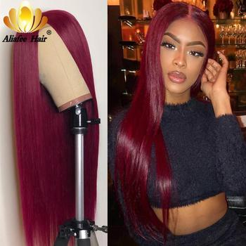 13x4 Straight Hair 99J Colord 150% Density Lace Front Human Hair Wigs For Women Ombre Burgundy Straight Front Remy Front Wigs