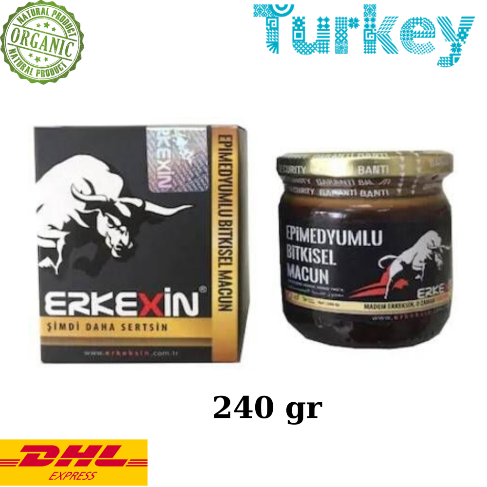 Erkexin Horny Goat Weed 240 Gr. Epimedium Turkish Paste %100 Halal