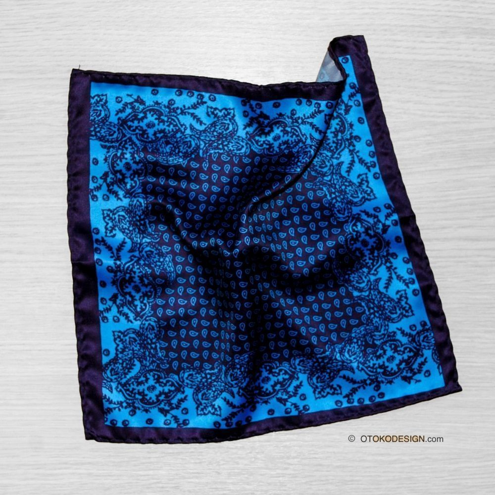 Dark Blue Paisley Pattern Pasha Pocket Square (52666)