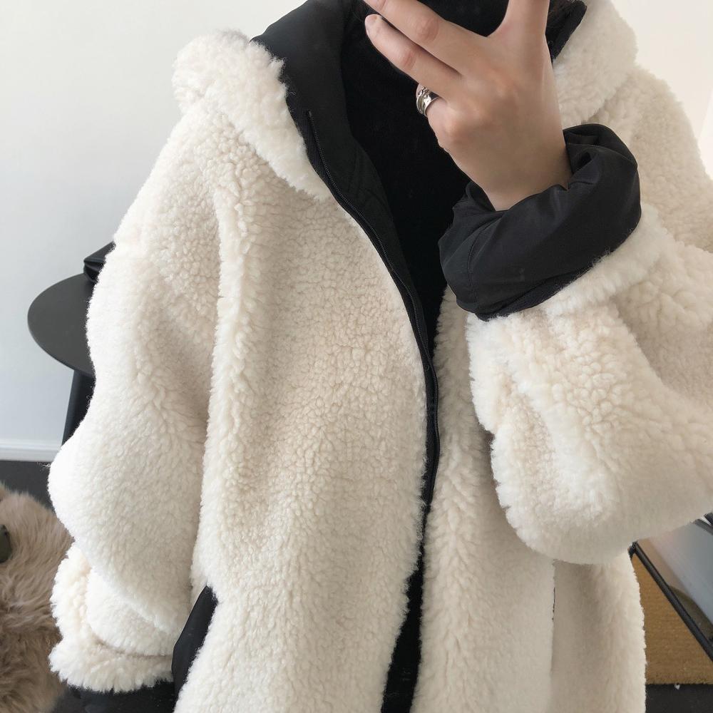Kobieta ciepła prawdziwa wełna długi biały płaszcz