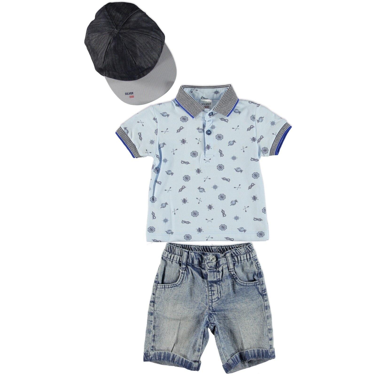 Ebebek Bombili Baby Boy Symbols Printed Polo Neck Tshirt Denim Short Set 3pcs