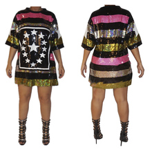 5Xl Plus size sexy sequin dress Summer Multi Color Striped Summer Dress Preppy Styles Female High Street Plus Size Dress