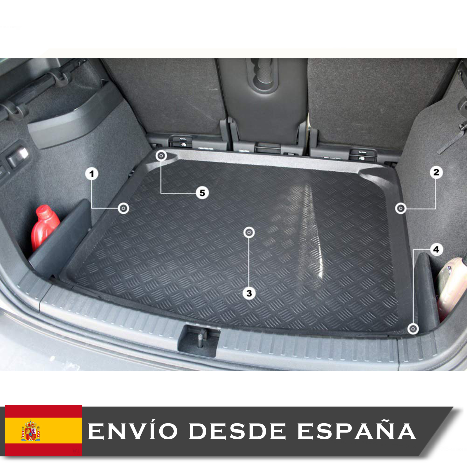 Boot Liner Mat ATECA POSICION Low 2016 + Tray Cubremaletero Bucket Mouse
