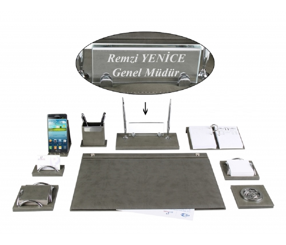 MELEN Luxury Gray Leather Desk Pad Set With Crystal NamePlate Name Plate Tag Chief Organizer