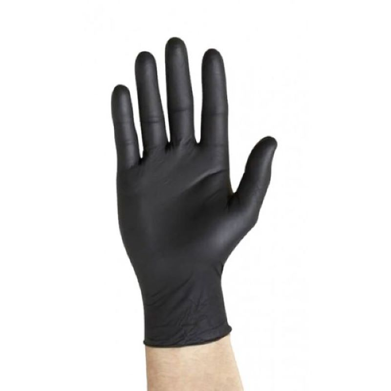 Gloves Disposable Black Nitrile Powder Free Size M