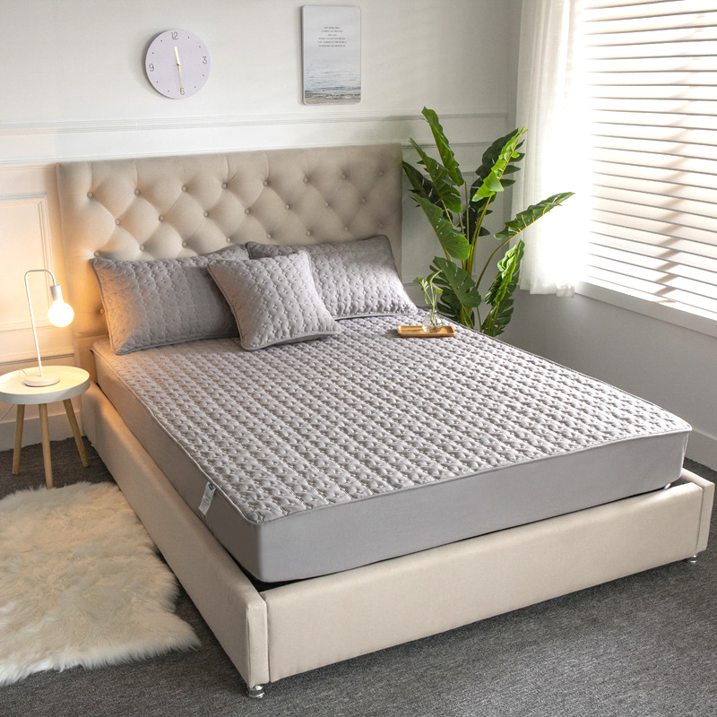 Waterproof Bed Cover Queen Size Washable Solid Color Mattress Cover Cotton Embossed Quilted King Mattress Protector Anti-mite
