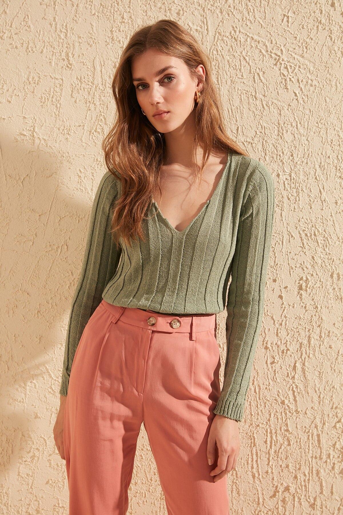 Trendyol Ribbed Knitwear Sweater TWOSS20KZ0029