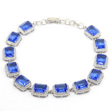 14x11mm Deluxe Created 22.8g Created Violet Tanzanite Natural White CZ Gift For Woman's Silver