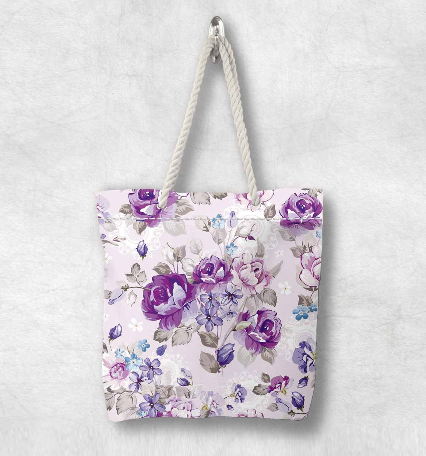 Else Vintage Roses Purple Flowers Floral New Fashion White Rope Handle Canvas Bag Cotton Canvas Zippered Tote Bag Shoulder Bag