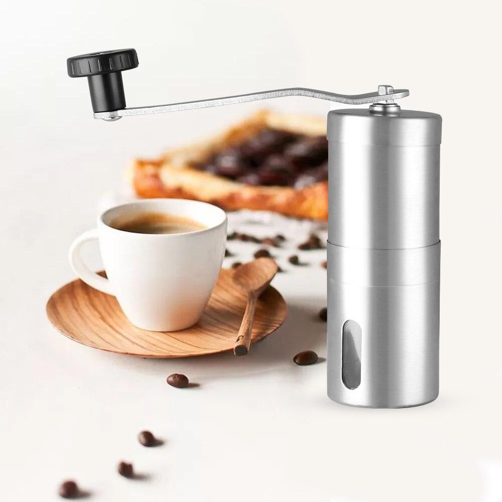 Кофемолка Мини нержавеющая сталь ручной работы серебро кофе в зернах заусенцы мельница Кухня Кофе Инструмент Крокус