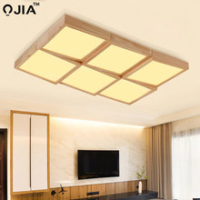 Nordic wooden led Ceiling Lights for bedroom living room ceiling mounted lamps with remote control Kitchen Lighting Fixtures(China)