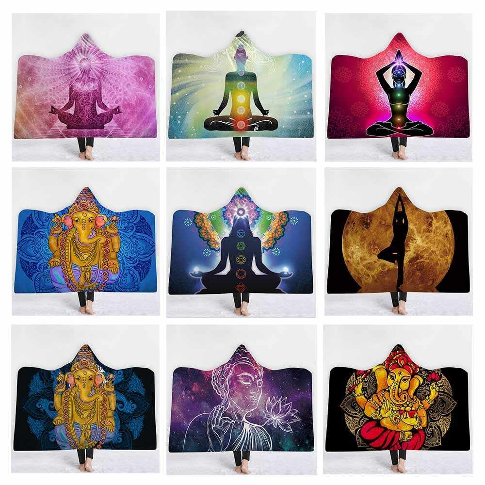India Mandala Chakra Printed Plush Hooded Blanket For Adults Kid Warm Home Sofa Wearable Double layer Fleece Throw Blankets