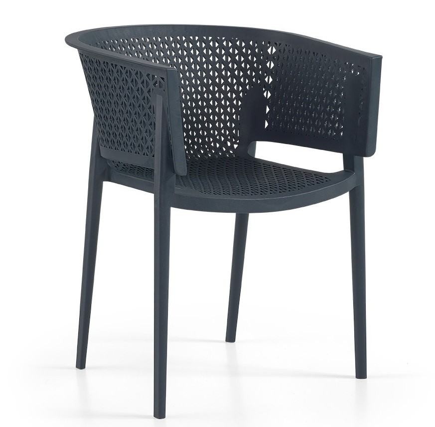 Armchair BILL, Stackable, Polypropylene Anthracite