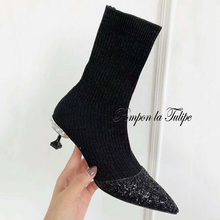 MNK 930079 Pointed Toe Glitter Elastic Shiny Fabrics 6CM Rhinestone High Heels Stilettos Stylish Slip On Women Shoes Lady Boots