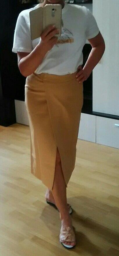 WOTWOY Summer Formal High Waist Women Skirt 2021 Office Lady Mid Calf Length Straight Women's Skirt Elegant White Skirt Femme|Skirts|   - AliExpress