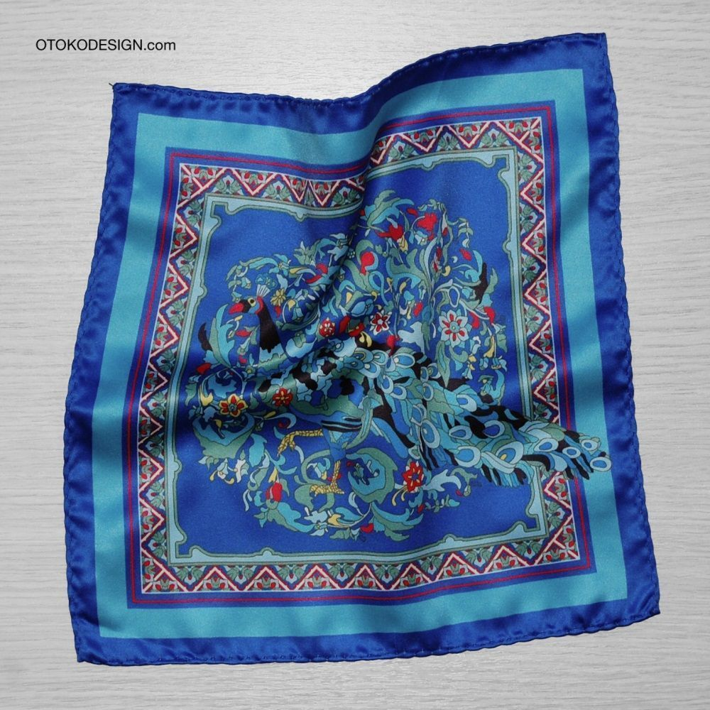 Pocket Square With Peacock Pattern On A Gray Background With Blue Edging (53140)