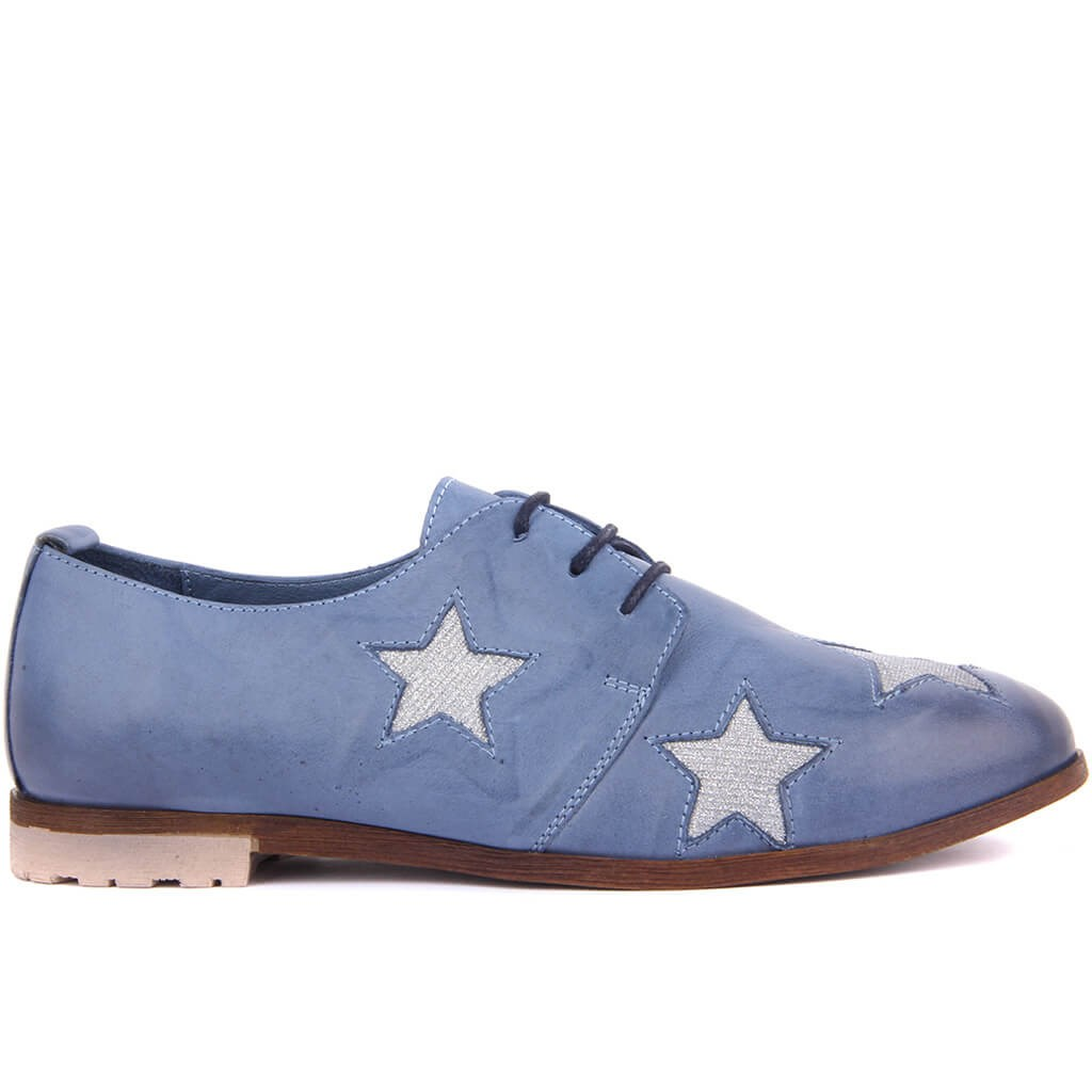 Sail Lakers-Denim Blue Leather Women 'S Casual Shoes
