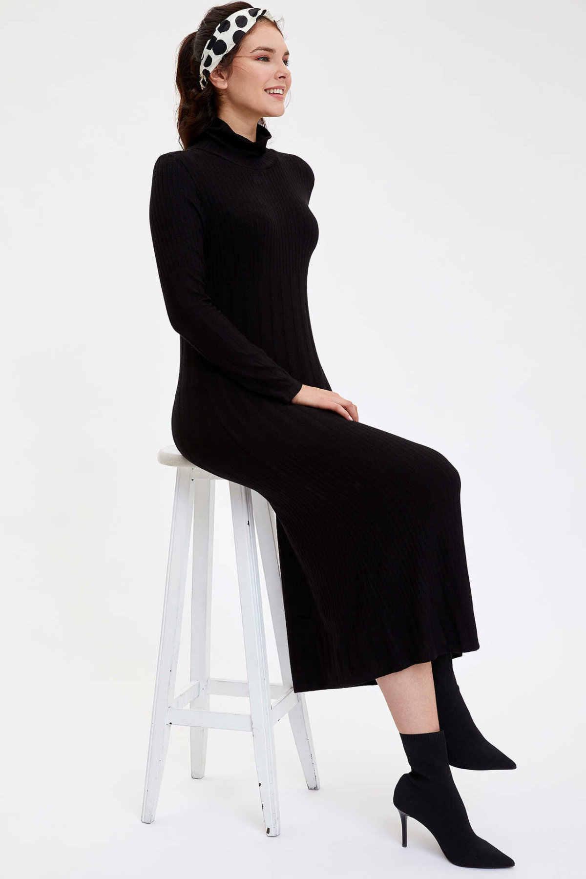 DeFacto женское с длинным рукавом модное Черное Трикотажное Платье женское осеннее длинное платье до лодыжки-M7011AZ19WN